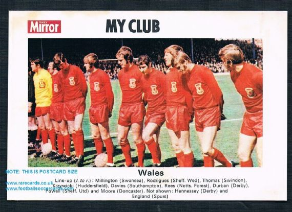 1970 My Club Daily Mirror postcard Wales Spurs Forest Blades Swindon Wednesday